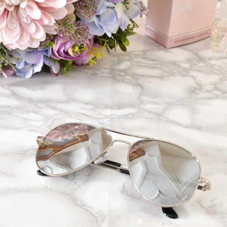 elegantné dámske slnečné Strieborné okuliare aviator