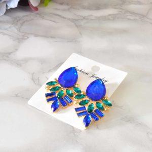 luxusné dámske modrozlaté elegantné náušnice