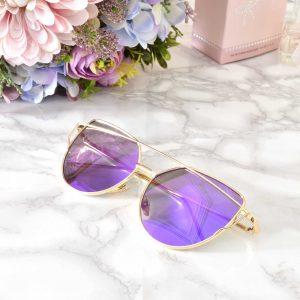 luxusné dámske zlato fialové elegantné okuliare