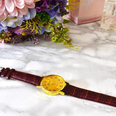 luxusné zlaté dámske hodinky s hnedým remienkom golden eye