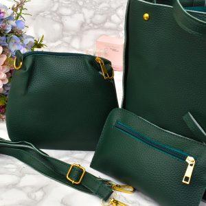 elegantný dámsky kožený kabelkový set 3 v 1