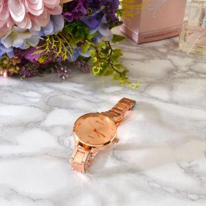 luxusné dámske elegantné hodinky z ružového zlata