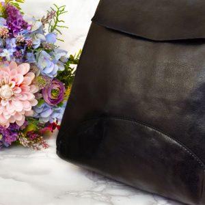 Dámsky elegantný jednoduchý čierny batoh eko koža