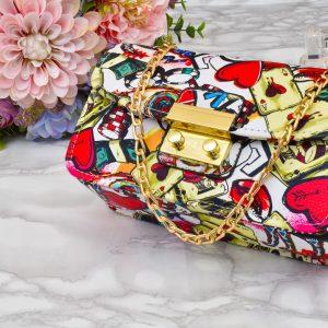 moderná štýlová dámska krásna unikátna farebná bielo zlatá kabelka crossbody