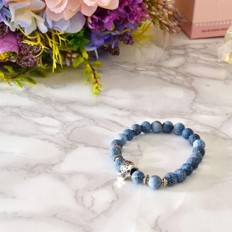 matný elegantný modrý mramorový náramok s príveskom gepard